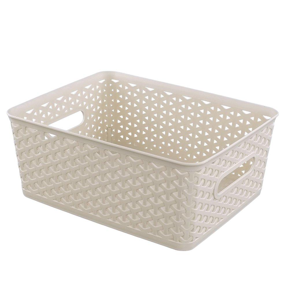 Hommp 8 Quart Woven Plastic Storage Basket, Set of 3 (Khaki)