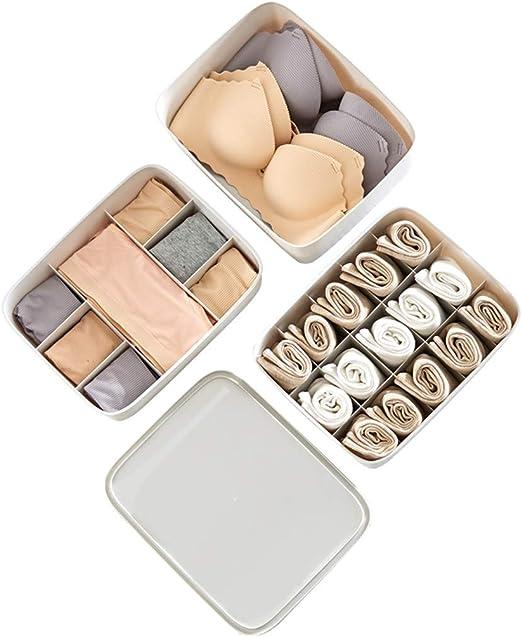 LHY SAVE 3 Piezas Organizador Cajones El Plastico Cajas Organizadores con Tapa Ropa Interior Organizador Sujetador Panties Calcetines De Ropa Interior: Amazon.es: Hogar