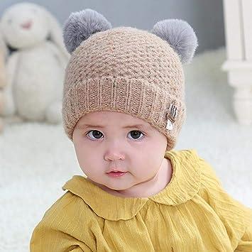 Myzixuan Doble Bola de Invierno bebé Sombrero Caliente Lana Gorro bebé  Sombrero del oído de bebé 9041fc56f8d