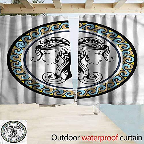 Beihai1Sun Rod Pocket Top Blackout Curtains/Drapes Zodiac Gemini Antique Sisters Outdoor Privacy Porch Curtains W63x63L Inches