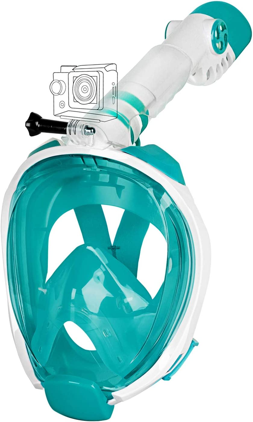 2019 Safety Upgraded Version - Panoramic 180/° View with Handler Detachable Camera Mount Unigear Full Face Snorkel Mask Anti-Fog Anti-Leak Free Breath Design