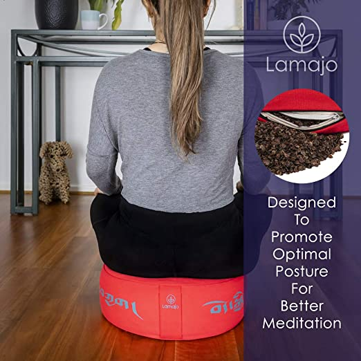 Lamajo Large Round Meditation Cushion 14 Extra-Soft Adjustable Seat Cushion and Supportive Buckwheat Filled Yoga Pillow for Added Comfort Yoga Block Unique Tibetan Script Design