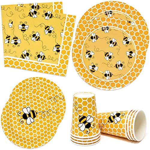 """Bumble Bee Party Supplies Tableware Set Includes 24 9"""" Plates 24 7"""" Plate 24 9 Oz Cup 50 Lunch Napkin Honey Bees Honeycomb Baby Shower & Happy Bee Day Birthday Disposable Paper Dinnerware Decorations"""