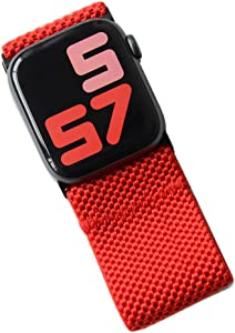 Tefeca Ultra Wide Patterned Elastic Compatible/Replacement Band for Apple Watch (Red, M fits Wrist Size : 6.5-7.0 inch, 42/44mm)