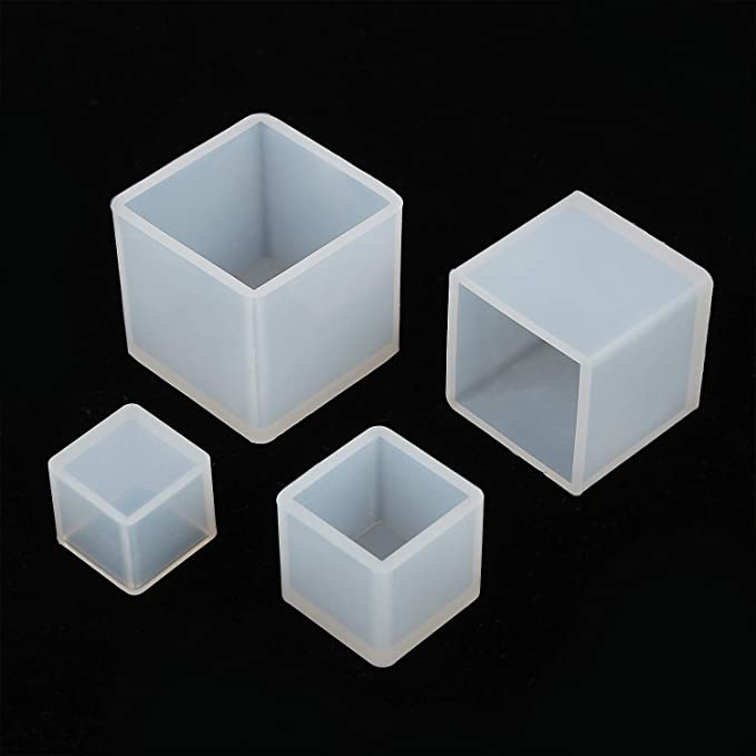 SBYURE 4 Pieces Cube Epoxy Resin Silicone Molds Silicone Molds Resin for DIY Craft Making Crafting Making Polymer Clay