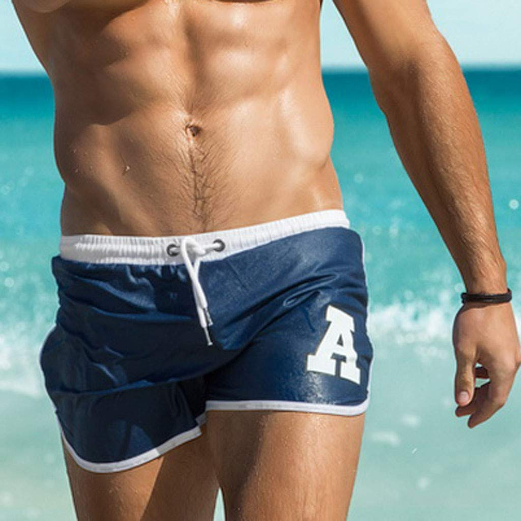 Mens Swim Trunks Solid Letter Printing Board Shorts for Sports Swimming with Mesh Lining