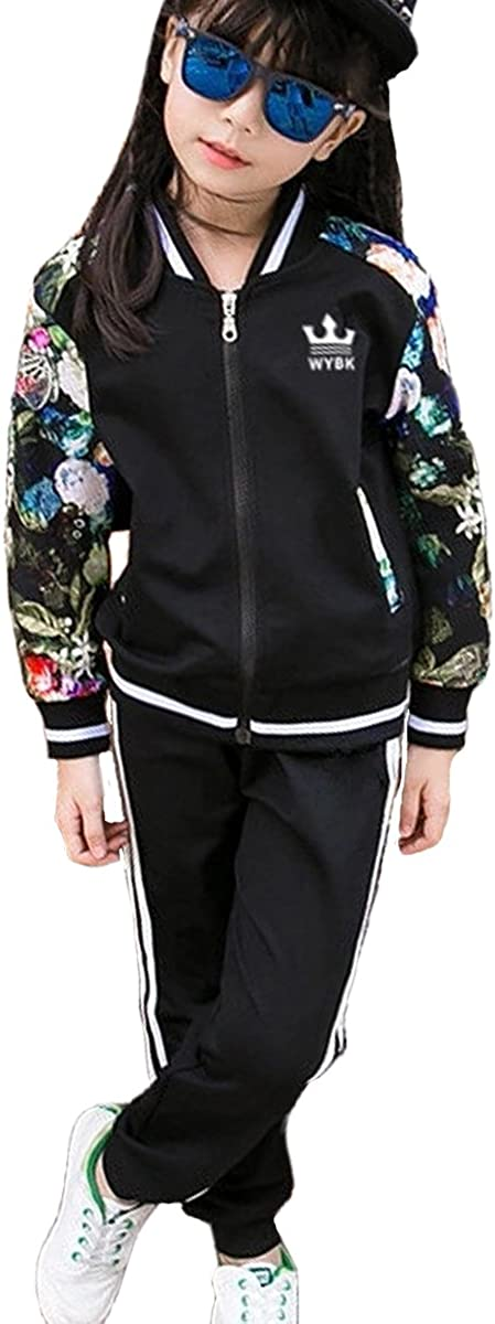 OnlyAngel Girls Tracksuit Zipper Jacket with Floral Sleeve /& Stretch Pant Age 3-11