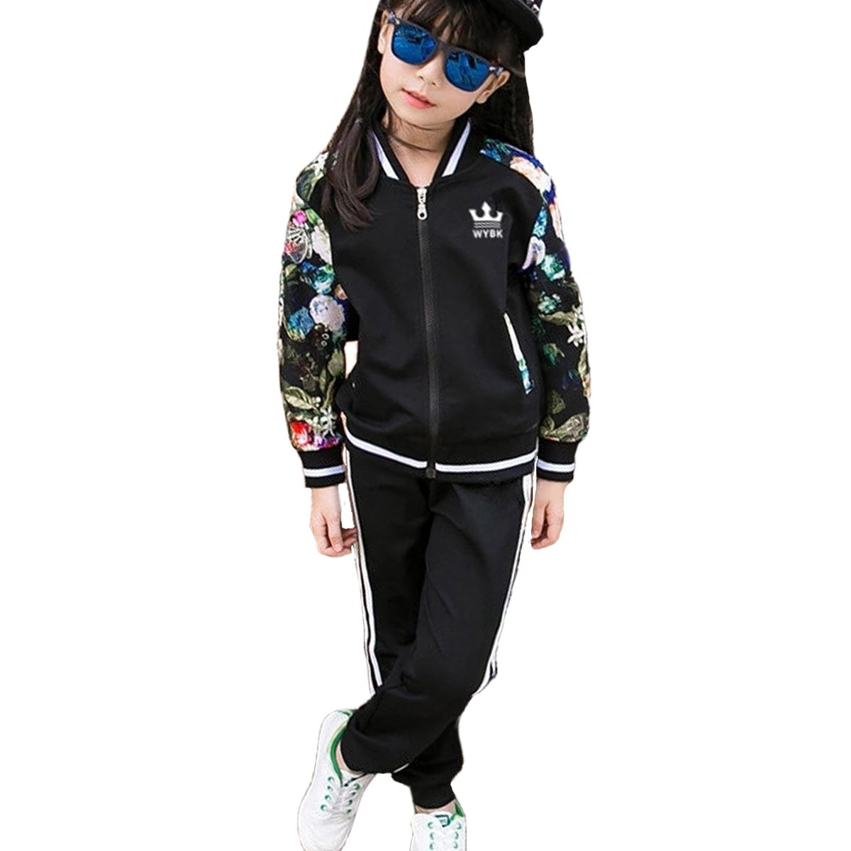 OnlyAngel Girls Fashion Tracksuits Zipper Jacket with Floral Sleeve and Elastic Waist Pant Size 3-11 Yrs (8-9 Years, Black)