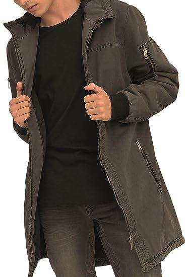 trueprodigy Casual Herren Marken Parka einfarbig Basic Herrenjacke Cool Stylisch Kapuze sportlich Slim Fit Jacke Männer