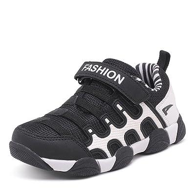 Unisex-Kinder Sneaker Rundzehen Laufschuhe Tragen Streifen Klettverschluss Atmungsaktiv Freizeit Trekking Anti-Rutsch Schuhe Dunkelblau-Rot 28 BgsI7jK