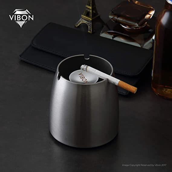 Large2 VIBON Large Stainless Steel Windproof Ashtray for Indoor Or Outdoor