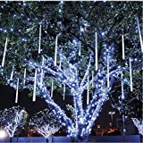 Vlio LED Rain Drop Lights with 30cm 8 Tube 144 LEDs, Waterproof Meteor Shower Light, Icicle Snow Falling Rain Drop Cascading Lights for Holiday Party Wedding Christmas Tree Decoration (White)