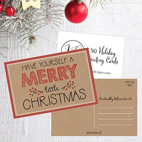 50 Kraft Holiday Greeting Cards, Cute Fancy Blank Winter Christmas Postcard Set, Bulk Pack of Premium Seasons Greetings Note, Happy New Years Cards for Kids, Business Office or Church Thank You Notes Photo #6