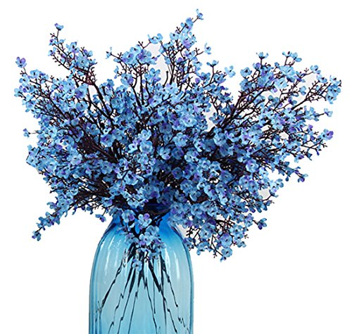 - JAKY Global Babys Breath Fabric Cloth Artificial Flowers 6 Bundle European Fake Silk Plants Decor Wedding Party Decoration Bouquets Real Touch DIY Home Garden(Blue)