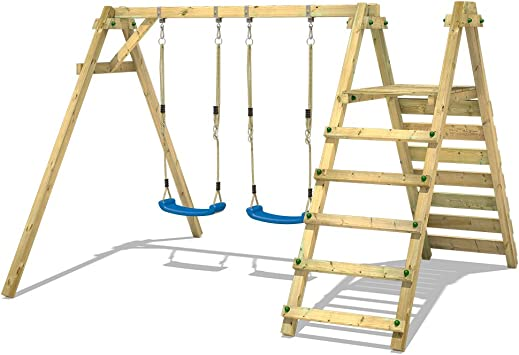WICKEY Columpio doble con plataforma Smart Up Columpio para jardín Columpio infantil madera: Amazon.es: Bricolaje y herramientas