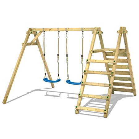 WICKEY Double Swing with Platform Smart Up Swing Set Wooden Children ...