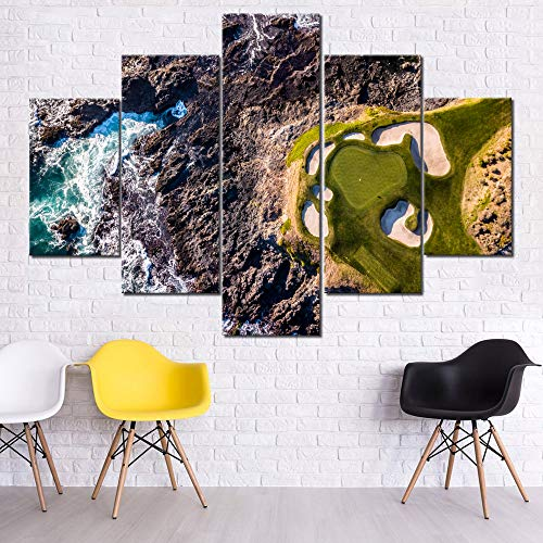 (Golf Course Paintings Waves Hitting The Rocks Pictures for Living Room 5 Piece Canvas Wall Art Premium Quality Artwork Modern House Decorations Framed Ready to Hang Posters and Prints(60''Wx40''H))
