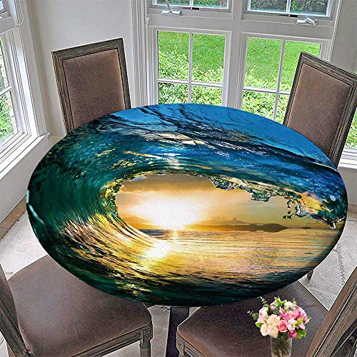 PINAFORE HOME Round Table Tablecloth Rough Colored Ocean Wave Fall Down at Sunset time for Wedding Restaurant Party 31.5
