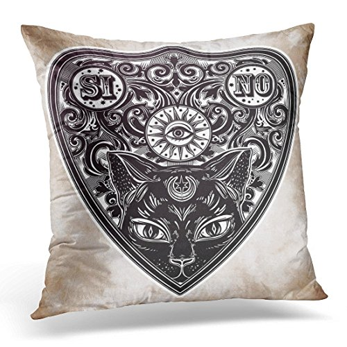 SPXUBZ Aged Vintage Magic Ouija Board Oracle Black Cat Head Portrait Antique Boho Chic Halloween and Tattoo Decorative Home Decor Square Indoor/Outdoor Pillowcase Size: 20X20 Inch(Two Sides) -