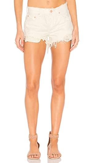 Free People Daisy Chain Lace Denim Shorts Worn White (30)