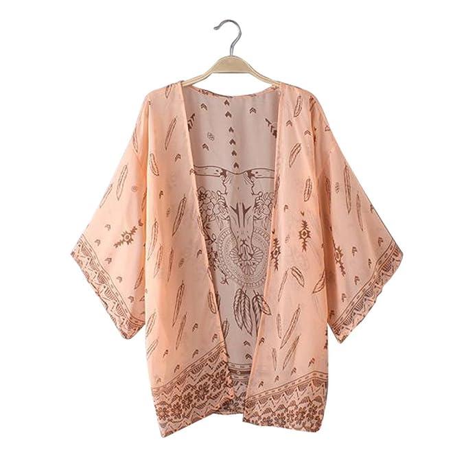 DEELIN Blusas De La Rebeca del Kimono del Chal Flojo De La Gasa Impresa De Boho