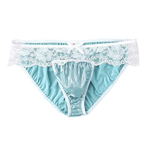 c98157e382 ACSUSS Sissy Pouch Panties Bikini Briefs Thong Girly Knickers Male Underwear  Sexy for Men Blue Medium