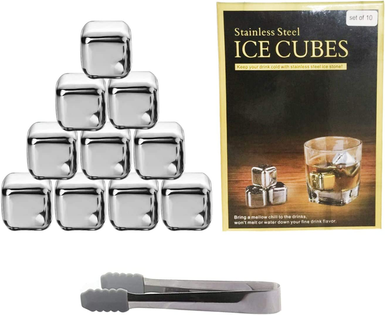 Cocktails or any Drinks Silver, 4 Wine Whiskey Stones,Reusable Stainless Steel Ice Cubes,Whisky Chilling Rocks Metal Ice with Tongs and Freezer Storage Tray forWhiskey