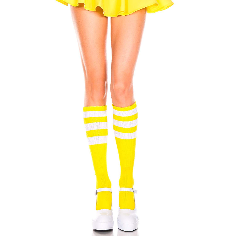 a3e2f4b7503 Amazon.com  Music Legs 5726-NEON Yellow-WHI Acrylic Knee High Socks with  Striped Top44  Neon Yellow   White  Clothing