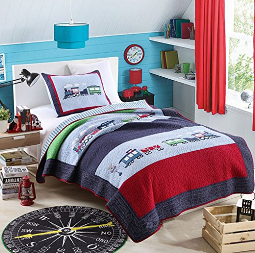 Train Pattern (HNNSI Kids Quilt Train Pattern Boys Comforter Set Twin Size 2 Pieces, 100% Comfy Cotton ,Toddler Children Bedspread Bedding Sets for Boys)
