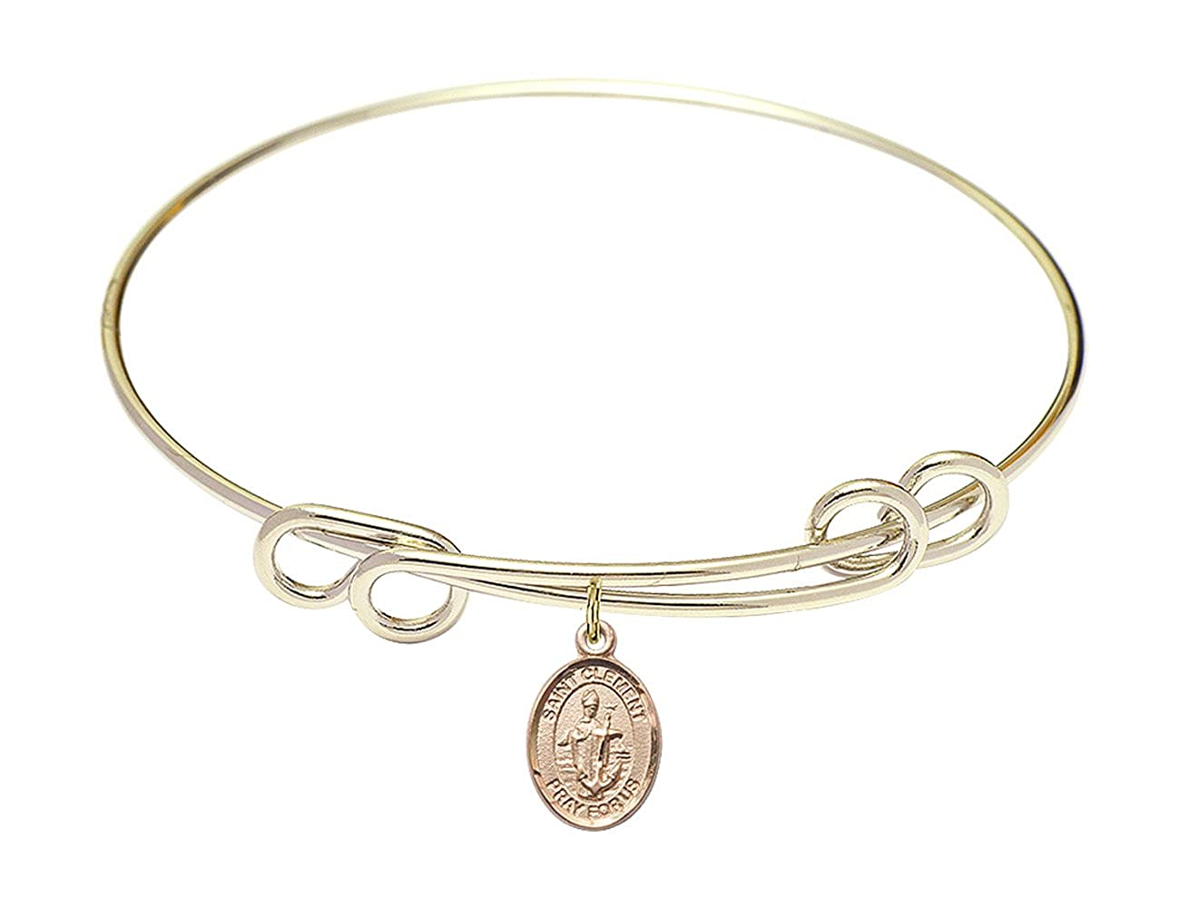 Clement Charm On A 8 1//2 Inch Round Double Loop Bangle Bracelet St