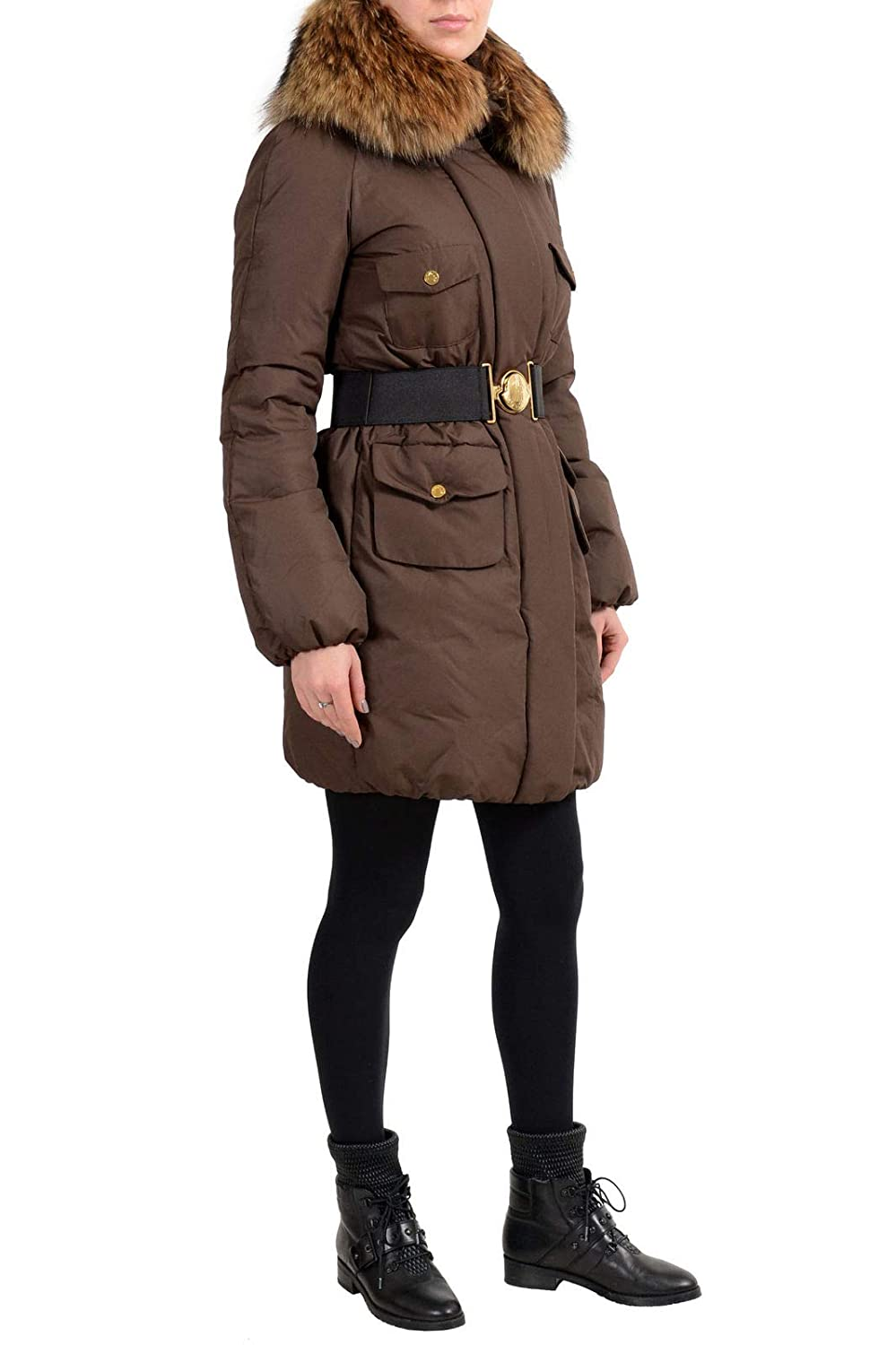 571c7b8a9 Amazon.com  Moncler Women s Brown Down Fur Trimmed Hooded Parka ...