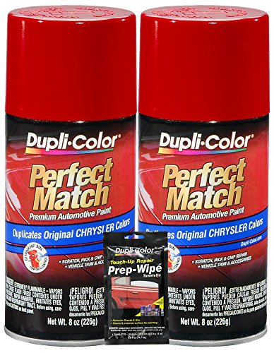 (Dupli-Color Flame Red Perfect Match Automotive Paint for Chrysler Vehicles - 8 oz, Bundled with Prep Wipe (3 Items))