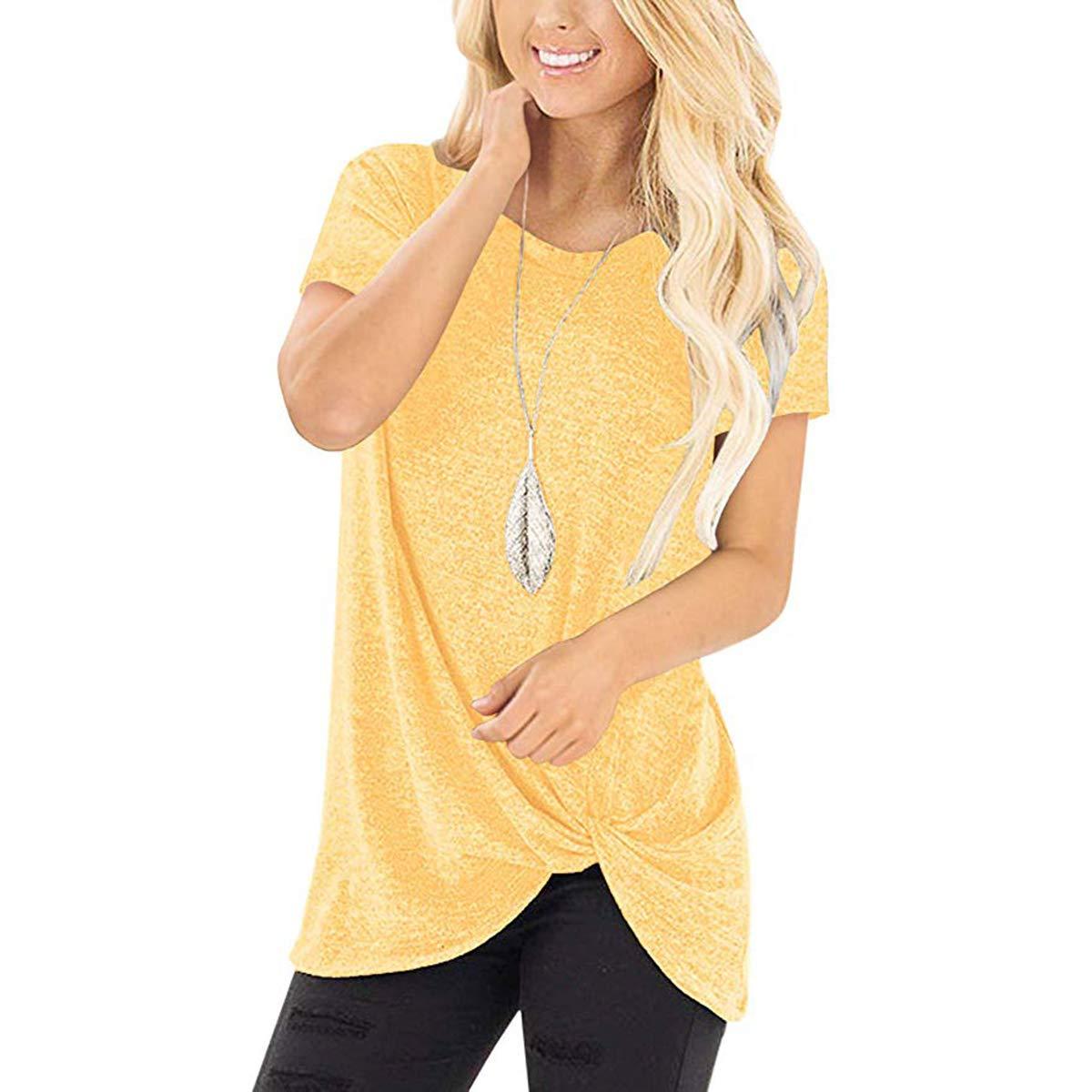 Tshirt Yellow Ilfioreemio Women Knit Tunic Top Round Neck Blouse Knot Twist Front Long Sleeve Casual Soft Sweatshirt