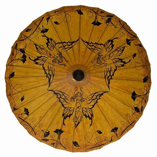 Vintage Style Parasols and Umbrellas Hand Painted Paper Sun Parasol 34 (Butterfly Nymph) $24.00 AT vintagedancer.com