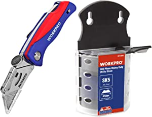 WORKPRO Utility Knife Blades Dispenser SK5 Steel 100-pack and Folding Utility Knife Quick-change Box Cutter, Blade Storage in Handle