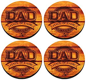 Dad Hall of Fame Member Coaster Funny Dad Gift 4 Pack Round Rubber Drink Cup Coasters Simulated Wood