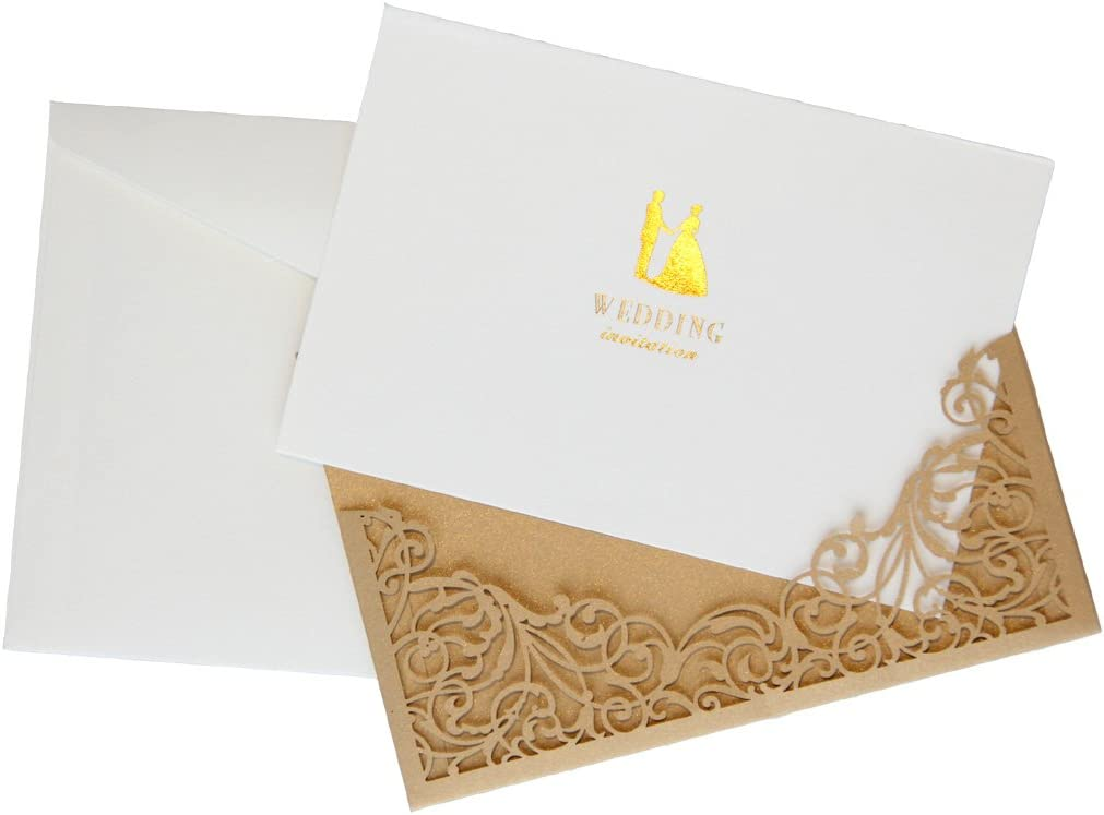 Laser Cut Gold Wedding Invitations with Blank Insert Card and Envelope 10 pcs High Quality