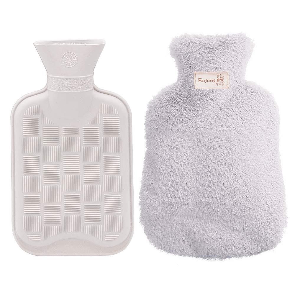 Bolsa para agua caliente, MMTX Funda para botella de agua caliente con funda de felpa Super Soft Luxury Seguro y duradero (antracita) - gris
