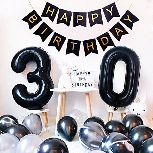 Divine Birthday Party Decorations Set - Happy Birthday Banner with 40 inch Black Number 30 Balloons White and Black Agate Latex Balloons for 30th Birthday Party Supplies Photo Props