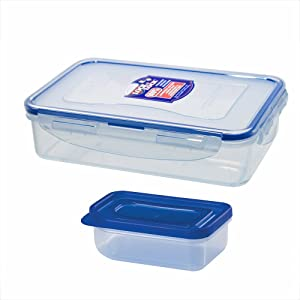 Lock&Lock Rectangular BPA Free Food Container with Sauce Container and Leak Proof Locking Lid, Short, 3.3-Cups, 27 Fluid Ounce