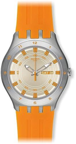 Swatch YTS712 - Reloj analógico de cuarzo para hombre con correa de silicona, color naranja: Amazon.es: Relojes
