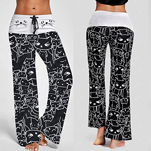 Women Pants Neartime Print Loose Casual Pants American Flag Drawstring Wide Leggings ()