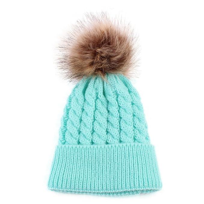 c35cef296e0 Webla(TM) Newborn Kids Toddler Children Cute Warm Knit Twist Beanie Winter  Hat Baby Boys Girls Pompom Knitted Wool Hemming Hats Cap  Amazon.co.uk   Clothing