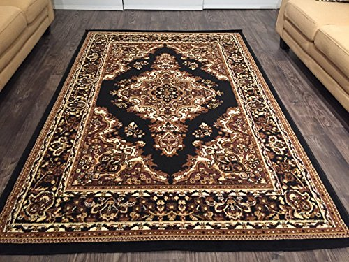 Dynasty Rugs Traditional Medallion Persian Style Area Rugs Carpets Flooring, Black (Rug Dynasty Rug)