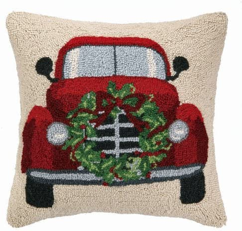 Red Vintage Truck Evergreen Christmas Wreath 18 Wool Hooked Throw Pillow – 18 x 18