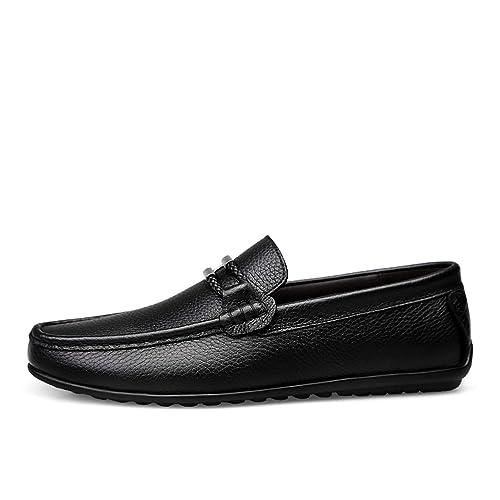 a11d4661 Calzado de Hombre Casual 2019 Mocasines de Cuero Genuino clásico Negro  Plataforma Zapato Hombre Tendencia Juvenil Conducir Zapatos sin Cordones  para ...