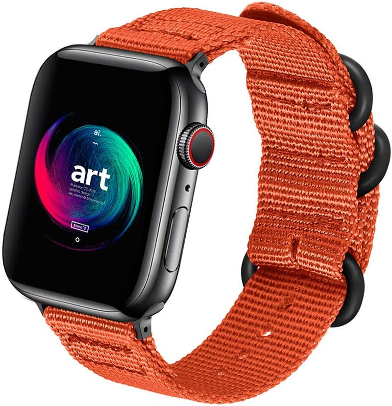 ONMROAD Compatible with Apple Watch Band 44mm 42mm Nylon NATO iWatch Bands Series 5 Series 4 Series 3 2 1 Men Women Replacement Strap Military Style Soft with Rugged for Sport Wristband - Orange