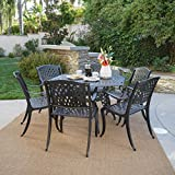 Cheap Great Deal Furniture | Hammond | 7 Piece Cast Aluminum Dining Set | Perfect For Patio | in Bronze