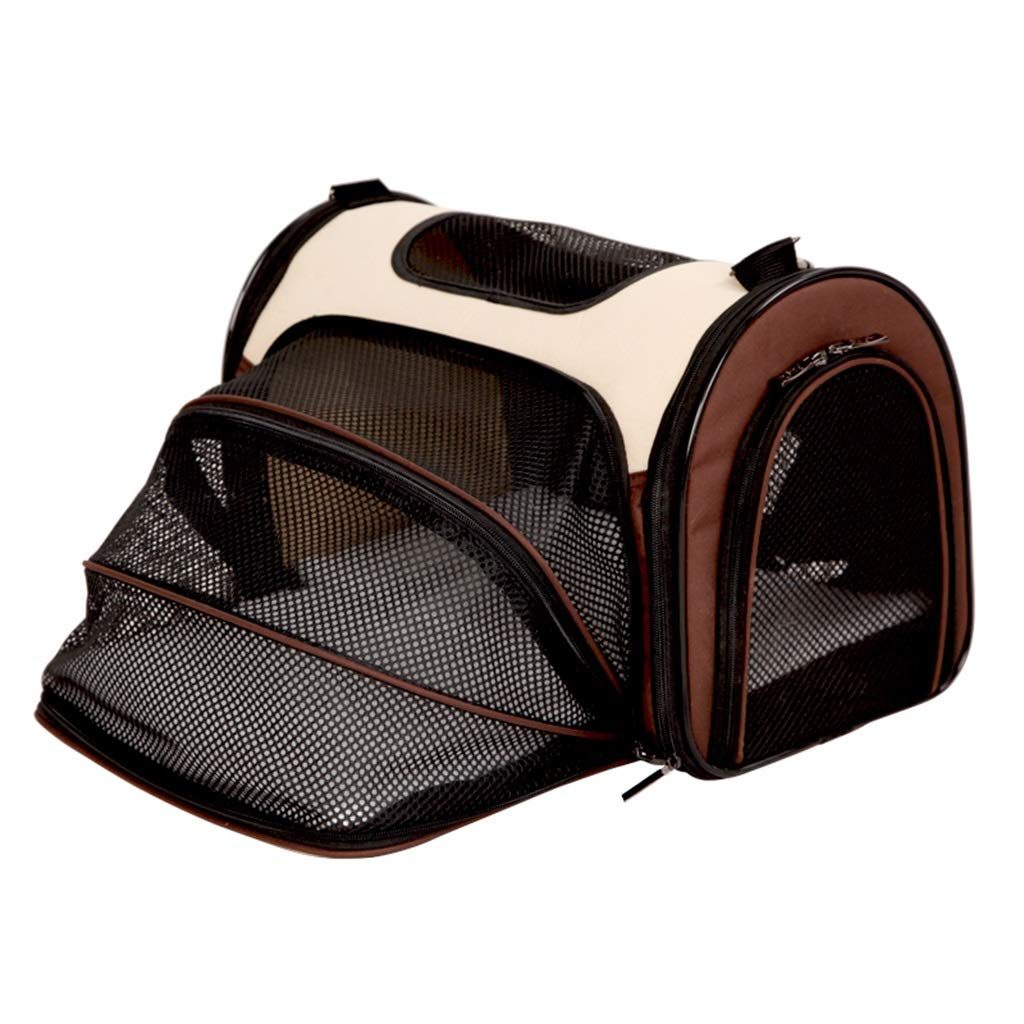 Brown Pet Backpack Carrier Travel Bag Breathable Outdoor Hiking and Travel Lightweight Durable Airline Approved with Safety Locks (50 x 30 x 27CM)