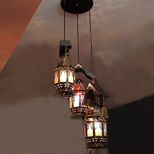 morocco antique metal 3 heads bar counter ceiling pendant lamp